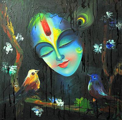 Abstract Radha Krishna Oil Paintings